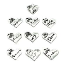 100PCS 10 Words Silver Tone Heart Charm Pendants Collection,Supply Wholesale C20