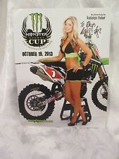 Ashleigh Fisher *Signed Monster Energy Cup POSTER 2013 Promo 8.5X11
