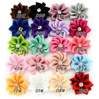 100pcs Satin Ribbon Flower Rhineston Appliques Craft Sewing 25MM 20 Colors