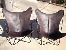 Pair of leather butterfly chair cover with solid metal frames. Last reduction!