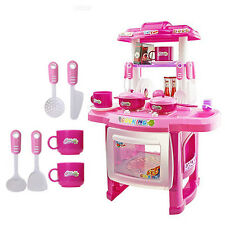 Kids Pink Kitchen Cooking Electronic Pretend Play Toy with Lights/ Sound  Effect