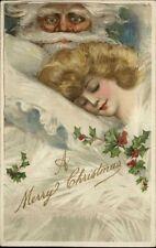 Christmas - Santa Claus Watches Woman Sleep WINSCH - Schmucker? SCARCE PC!
