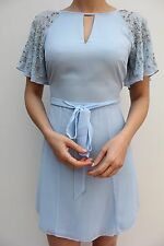 River Island Blue Belted Crepe Embellished Sleeve Mini Dress 6 34 US 2 New