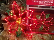 CHRISTMAS OUTDOOR LIGHTED POINSETTIA FLOWER SIGN WINDOW YARD LIGHT DECORATION 16