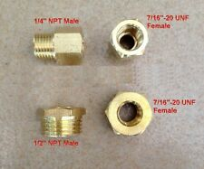 "Fitting UNF 7/16-20 ORB-04 Female to Pipe 1/4"" NPT Male Gauge Adapter UN-HD"