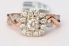 14k White and Rose Gold Two Tone Halo Vintage Style bypass Shank Engagement Ring