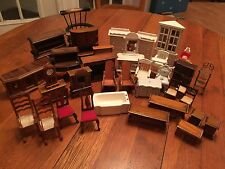 Lot Mixed Wooden Dollhouse Furniture Vintage Country Farmhouse Shabby Lot of 35