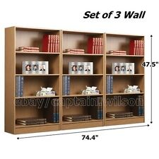 Set of 3 Pcs Wall Bookcase Bookshelf 4 Shelf Brown Wood Adjustable Shelves