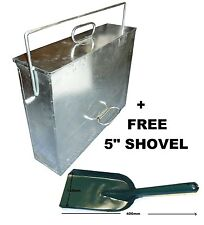 Large Galvanised Metal Hot Ash Tidy Box Carrier Bucket Fireplace + FREE SHOVEL