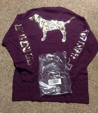 Victoria Secret Bling Long Sleeve Maroon SOLD OUT CAMPUS VARSITY PINK ORCHID DOG