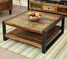Kuredu reclaimed wood furniture square living room coffee table