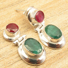 925 Silver Overlay RUBY & EMERALD 2 Stone Eye-Catching Art STUD Earrings 1 Inch