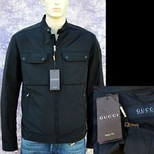 GUCCI New sz 54 - 44 Authentic Designer Mens Leather Trim Coat Jacket black