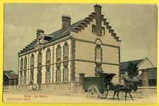 cpa Toilée GIDY en 1913 (Loiret) La MAIRIE Livreur Attelage Ane CHARTIER Épicier