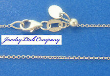 "Adjustable Oval Link Necklace 14K Solid White Gold  20"" 1mm 1.8grams Italian"
