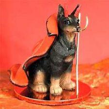Doberman Cropped Ears Black Dog Devil Tiny Figurine Statue