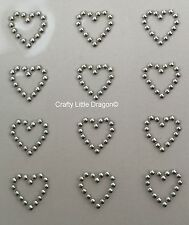 24 x 13mm Outline Hearts METALLIC SILVER Stick on Self Adhesive GEMS WEDDING