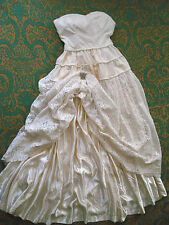 Vintage Authentic 1948 SILK SATIN, COTTON VELVET & LACE WEDDING GOWN 4 Pc ~ S/XS