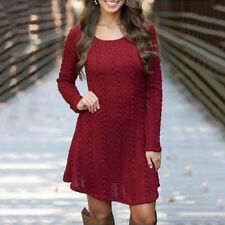 Women Winter Long Sleeve Jumper Tops Knitted Sweater Bodycon Tunic Mini Dresses