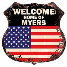 BP0328 WELCOME HOME OF MYERS Family Name Shield Chic Sign Home Decor Gift