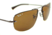 RayBan RB3497 004/83 Mens Square RIMLESS POLARIZED Sunglasses GUNMETAL BROWN