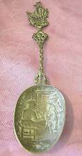 A BIG ANTIQUE HALLMARKED SOLID SILVER DECORATIVE SPOON-LADY BY THE SPINING WHEEL
