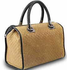 Made in Italy Ladies Cube Bag Henkeltasche Leder Flecht-Optik geflochten Braun