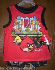 Angry Birds GAME Screen Summer Pajamas Boy's size 8 NeW Muscle Shirt Shorts Pjs