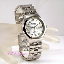 OMAX Waterproof Silver Rhodium Plate Steel Chequer Mens Gents Dress Watch HBJ777
