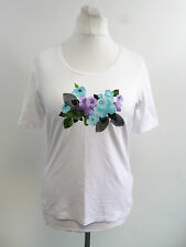 frank walder rose print white t-shirt SIZE 48 / 22 RRP £53 BRAND NEW BOX8500 P