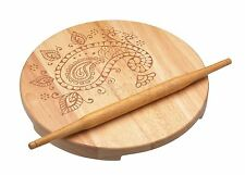 World Of Flavours Indian Chapati Board & Rolling Pin Set Raised Platform Wooden
