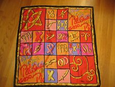 """Paloma Picasso Parfums Black Red Pink Horoscope Scarf 33 x 35"""""""