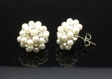 Pearl Cluster Swarovski Crystal Ball Stud Earring Wedding 14ct White Gold GF