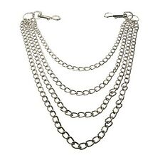 4 Row Hanging Silver Metal Jean Chain Gothic EMO Rock CH04