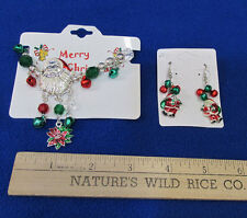 Christmas Jewelry Earrings & Charm Bracelet Santa Jingle Bells & Poinsettia