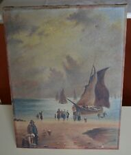Circa 1900s, Old Oil on  Canvas Painting Signed A Rutland Boat and Fishermen