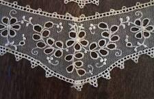 Vintage Set Embroidered Net Lace Collar Cuffs Trim Cutwork Floral Ecru