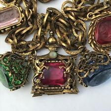 Vintage Victorian Rev Saphiret Glass Cameo Intaglio Fob Charms Dragon Necklace