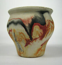 Nemadji Vase Red Black VTG Swirl 4 In Southwest Art Pottery USA Indian Hallmark