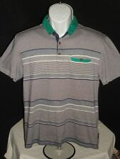 """Ted Baker """"Who Cares Wins"""" Cotton Gray Striped S/S Polo Shirt Sz. 3S Retail $120"""