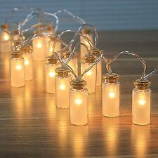 NEW - 8 Modes Vintag Glass Jar LED Fairy Lights With 20 Warm White LEDs-- Bat...