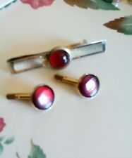 Vintage Swank Cufflinks & Tie Clasp Red Simlated Ruby Round