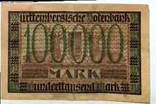 1922 Germany Wurthemberg 100000 Mark Banknote