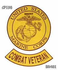 MARINE CORPS COMBAT VETERAN Brown on Gold Iron on 2 Patches Set for Biker Jacket