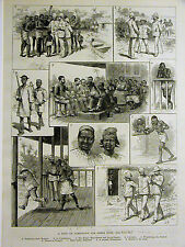 Jamestown South Africa RAID for FOOD Natives English 1890 Antique Print Matted