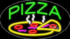 "NEW ""PIZZA"" W/LOGO 30x17 OVAL SOLID/FLASH REAL NEON SIGN W/CUSTOM OPTIONS 14601"