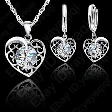 Top Sale Crazy Heart Women High Quality Silver CZ Necklace Earring Jewelry Set