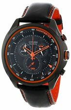 New Citizen Men's Eco-Drive Orange Accented Chronograph Leather Watch AT2185-06E