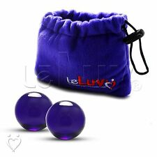 "LeLuv Ben-Wa Balls MEDIUM 1.7 oz. 1.43"" Blue Glass Kegel Exercise Massagers"