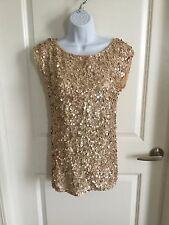 ALICE + OLIVIA Blush and Gold Sequin Women's Sleeveless Shirt / Dress Size XS